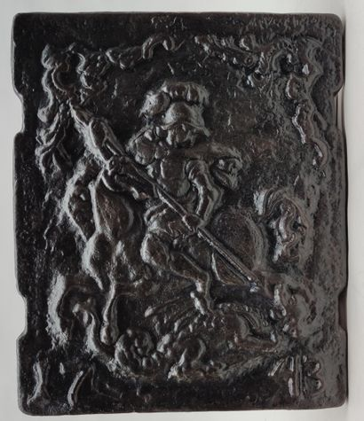 Cast iron PLATE with representation of Saint...
