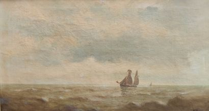 N. PAUMEN ? (XIXe siècle) Voiliers en mer...