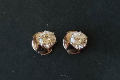 Paire de BOUTONS d'oreilles en or gris 750...