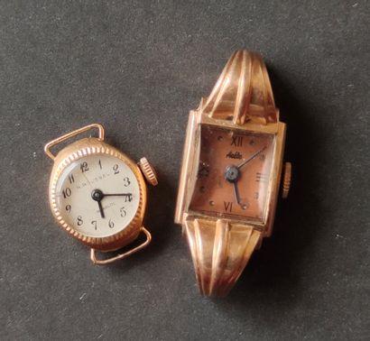 Deux boitiers de montre bracelet de dame...