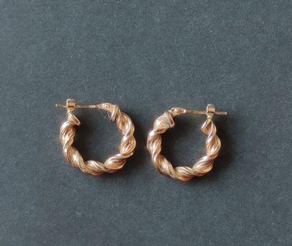 Paire de BOUCLES d'oreilles créoles en or jaune 750°/°°, Poids : 1.5 g
