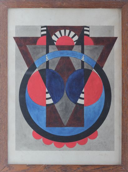 HERBIN Auguste (1882-1960) Composition cercles...