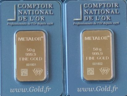 Two yellow gold LINGOTINS of 50 grams each under plastic of the Comptoir national...