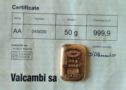 Deux LINGOTINS en or jaune de 50 grammes chacun, Valcambi Sa et CpOr avec certificats...