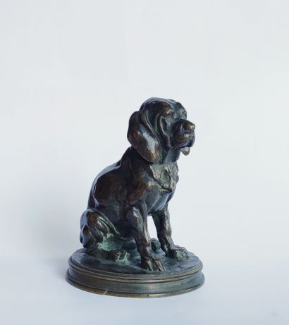 Alfred JACQUEMART (1824-1896) Chien assis...