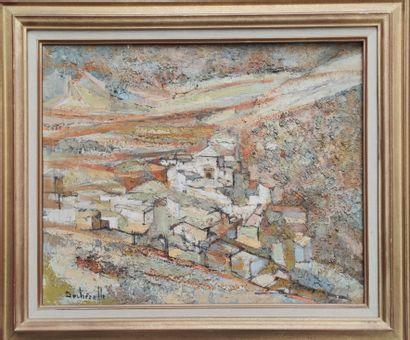 Claude DECHEZELLE (1928) Village dans le...