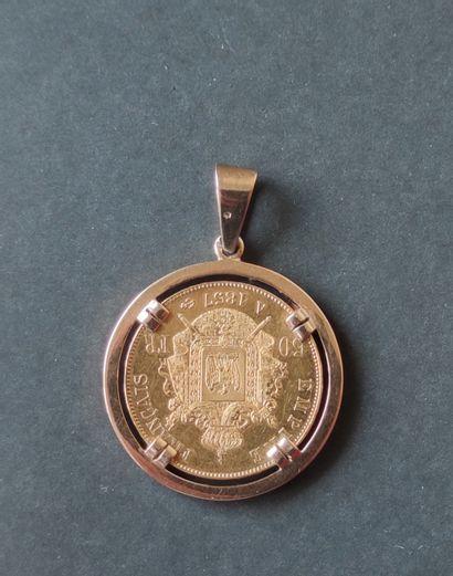 Monnaie en or 750°/00 Napoléon II, 50 francs, monture en or jaune 750°/°° Poids...