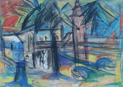 DUVAL Remy (1907-1984) Paysage, Maisons...