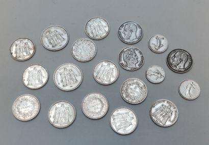 LOT de pièces en argent, 2 de 50 francs...