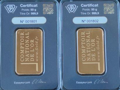 Deux LINGOTINS en or jaune de 50 grammes...