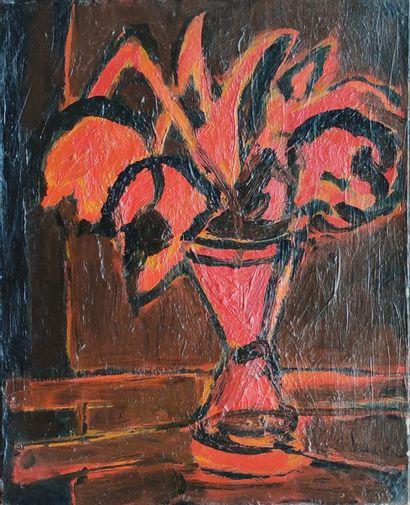 DUVAL Remy (1907-1984) Vase de fleurs rouges...