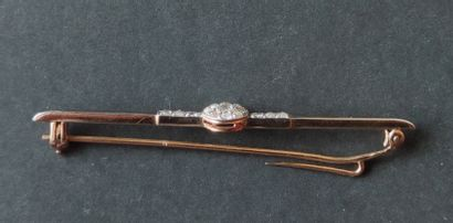 Yellow and white gold brooch or tie pin set with small cut diamonds, Gross weight:...