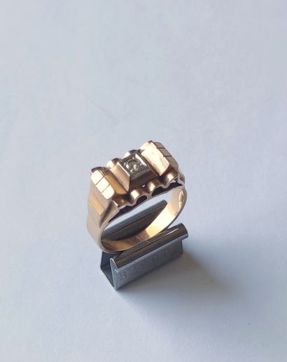 Yellow gold bridge ring set with a small cut diamond. Gross weight: 4.5 grams Finger...