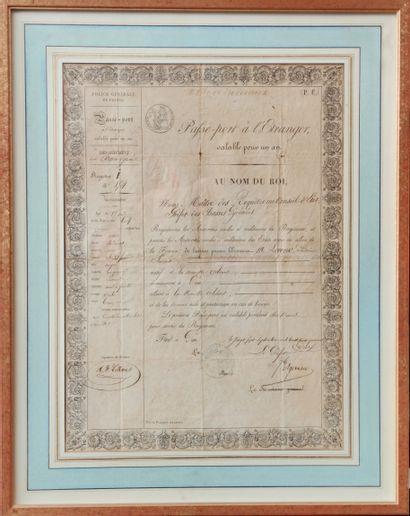 Ancien Passeport Pau 1842 à vue : 39 X 28...