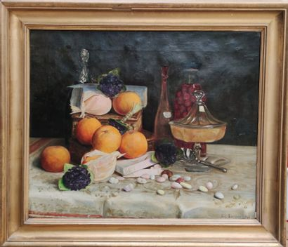 Alexandre BOURDIER (?-1945) Still life with fruits Oil on canvas signed and dated...