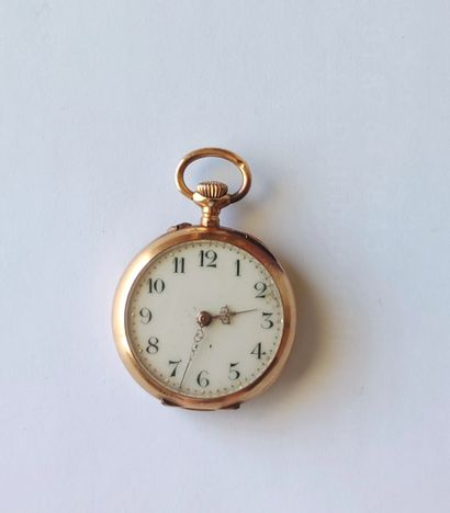 Lady's pendant watch, yellow gold case 750°/°°°, movement to be repaired, with its...