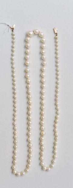 Collier de perles de culture en chute, fermoir en or 750°/00, L : 79 cm