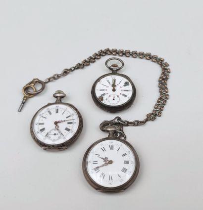 LOT : Trois montres de poche accidentées...