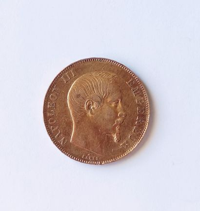 PIECE of 50 Francs gold Napoleon III, bare head, A 1857 Weight : 16.1 grams. Cost...