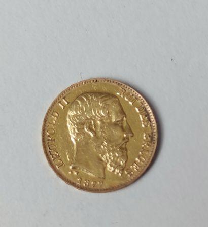 PIECE de 20 Francs en or jaune BELGIQUE Léopold II 1877, Poids : 6.3 g (usures)...