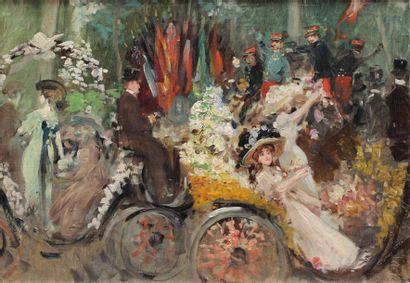 Georges STEIN (1870-1955) attribué à FÊTE DU 14 JUILLET ou Fête des fleurs Huile...