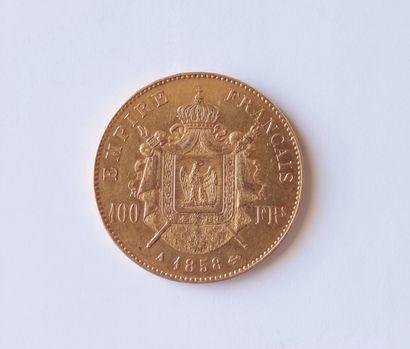 PIECE de 100 Francs or Napoléon III , tête nue, A 1858 Poids : 32.2 grammes Frais...