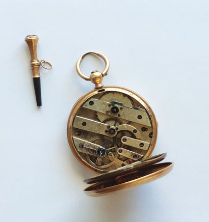Pocket watch, yellow gold case 750°/°°, metal dust cover, movement to be repaired,...