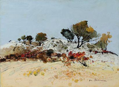 Michel JOUENNE (né en 1933) Arbres sur le rocher Huile sur toile signée en bas à...