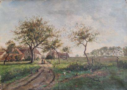 Alexandre ROZIER (XIXe Siècle) Vue de campagne...