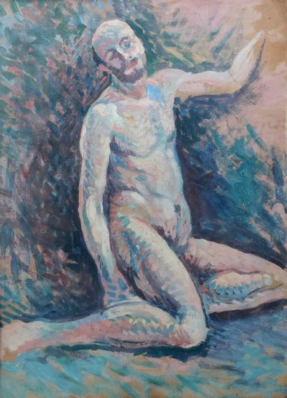 Maximilien LUCE (1858-1941) Study of a male nude with a beard Oil on board, 32 x...