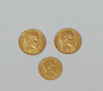 Three PIECES in yellow gold 750/°00 : 2 of 20 francs Napoleon III 1854 and 1856...