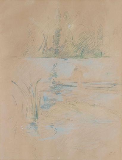 Berthe MORISOT (1841-1895) Barque au bois...