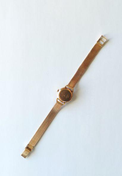 MONTRE-BRACELET de Dame, boitier et bracelet en or jaune 750°/°°, mouvement mécanique...