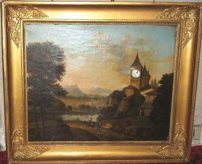 Tableau mécanique à horloge, toile peinte...