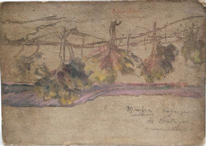 ECOLE FRANCAISE, XXe siècle Paysage au toit rouge Huile sur carton, porte au revers...