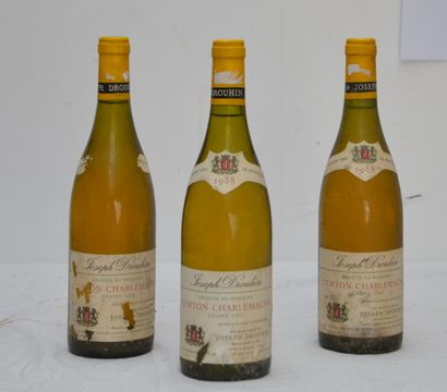 3 bout CORTON CHARLEMAGNE GD CRU 1988 DROUHIN...
