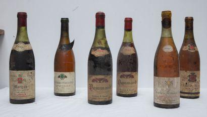 6 bout 2 bts de POMMARD 1962 , MORGON 1966, meursault 1962, chablis 1967, pouilly...