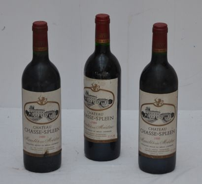 3 bout Chateau Chasse Spleen 1989 (etiquettes...