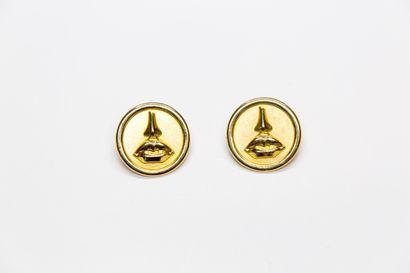 Salvador Dali - (années 1980)  Paire de clips d'oreilles en métal doré en forme...