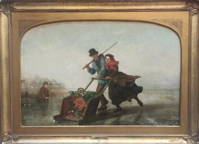 Henri Van SEBEN (1825-1913) Couple patinant,...
