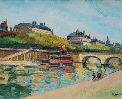 Pierre DE BELAY (1890-1947)  Paris, La Seine,...