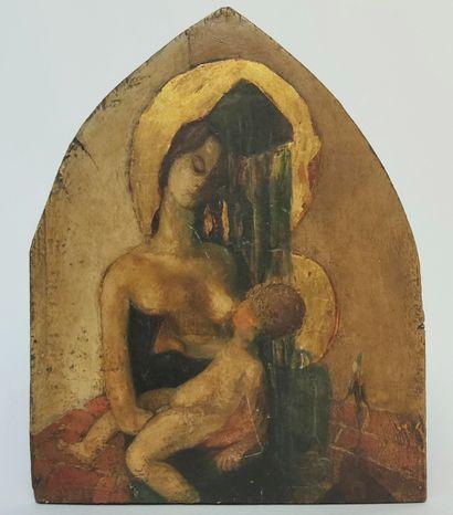 Ecole française XXème siècle  Vierge à l'enfant...