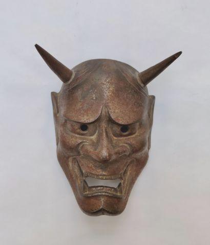 Masque de théâtre Kabuki ou No en fonte de...