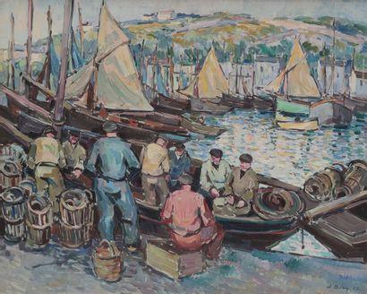 Pierre DE BELAY (1890-1947)  Les pêcheurs...