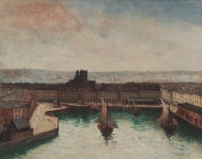 Gustave MADELAIN (1867-1944) Voiliers dans...