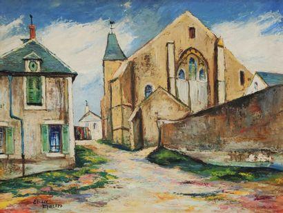 Elisée MACLET (1881-1962)  Vue d'eglise...