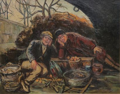 Gustave MADELAIN (1867-1944)  Les clochards...