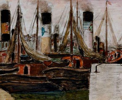 Léon DETROY (1857-1955)  Remorqueur au port...