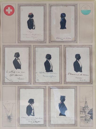 encadrement composé de sept silhouettes d'hommes...