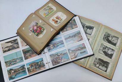 Ensemble de trois albums avec cartes postales...